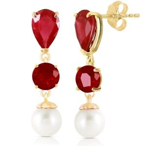 Galaxy Gold Products Jewelry - 14K GOLD CHANDELIER EARRING WITH RUBIES & PEARLS